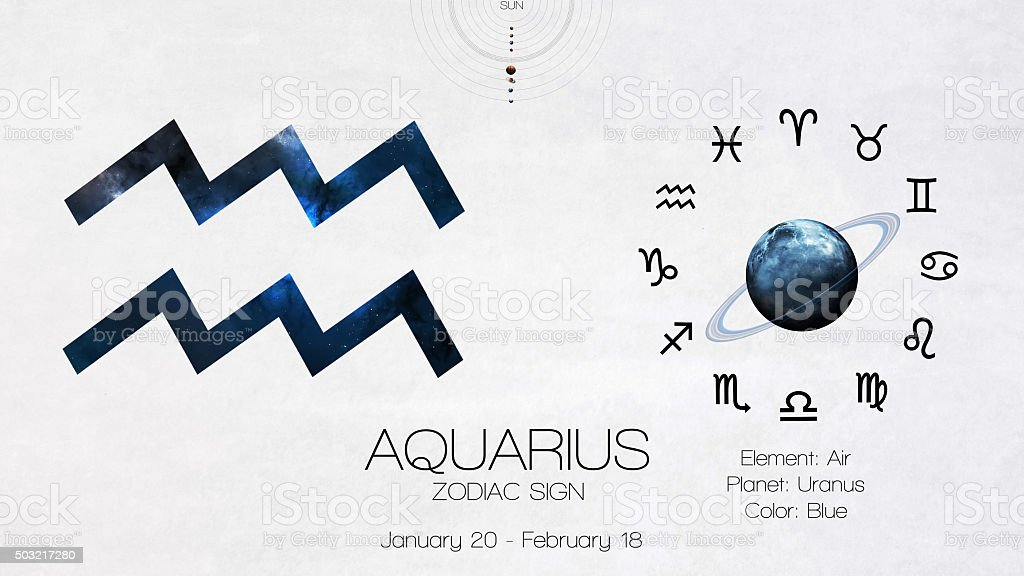 Zodiac sign - Aquarius. Cool astrologic infographics. Elements of this stock photo