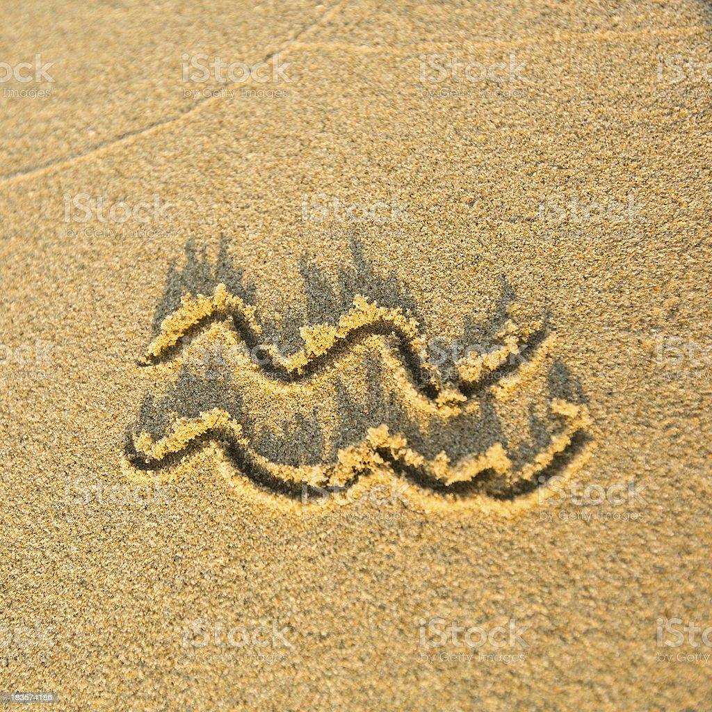 Zodiac sign Aquarius, drawn on the facture beach sand stock photo