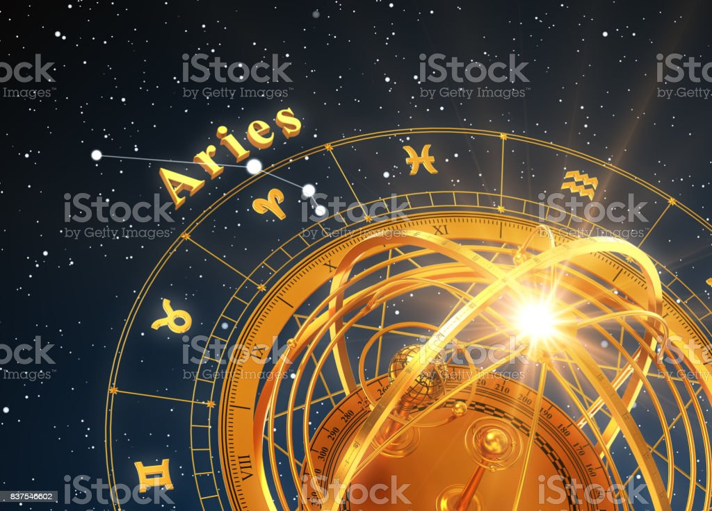 Zodiac Sign Aries And Armillary Sphere On Blue Background stock photo