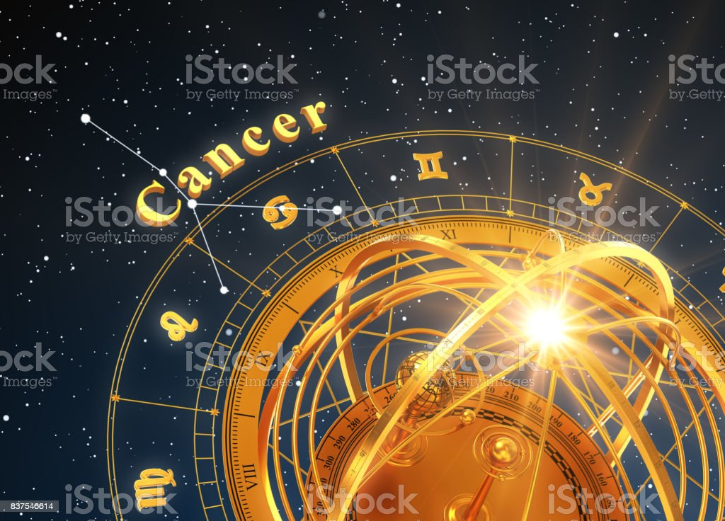 Zodiac Sign Cancer And Armillary Sphere On Blue Background stock photo
