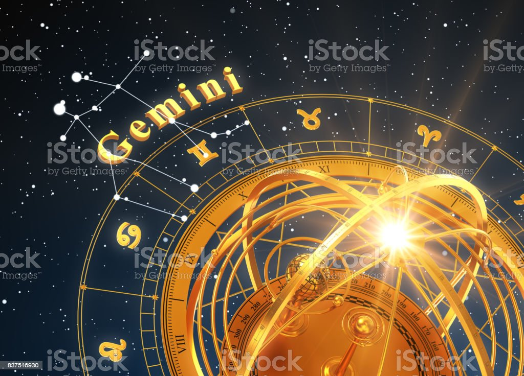 Zodiac Sign Gemini And Armillary Sphere On Blue Background stock photo