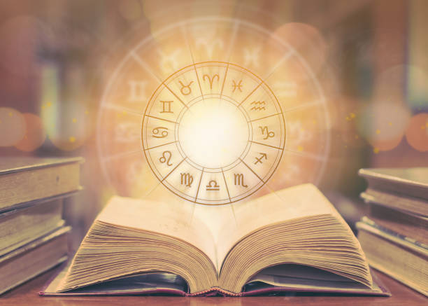 zodiac sign horoscope astrology and constellation study for foretell and fortune telling education course concept with horoscopic wheel over old book in school library - язык знаковая система стоковые фото и изображения