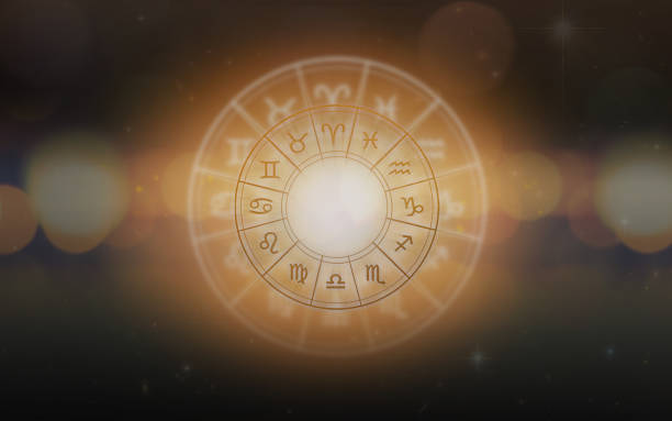 Zodiac sign horoscope astrology for foretell and fortune telling education course concept with horoscopic wheel on and constellation background stock photo