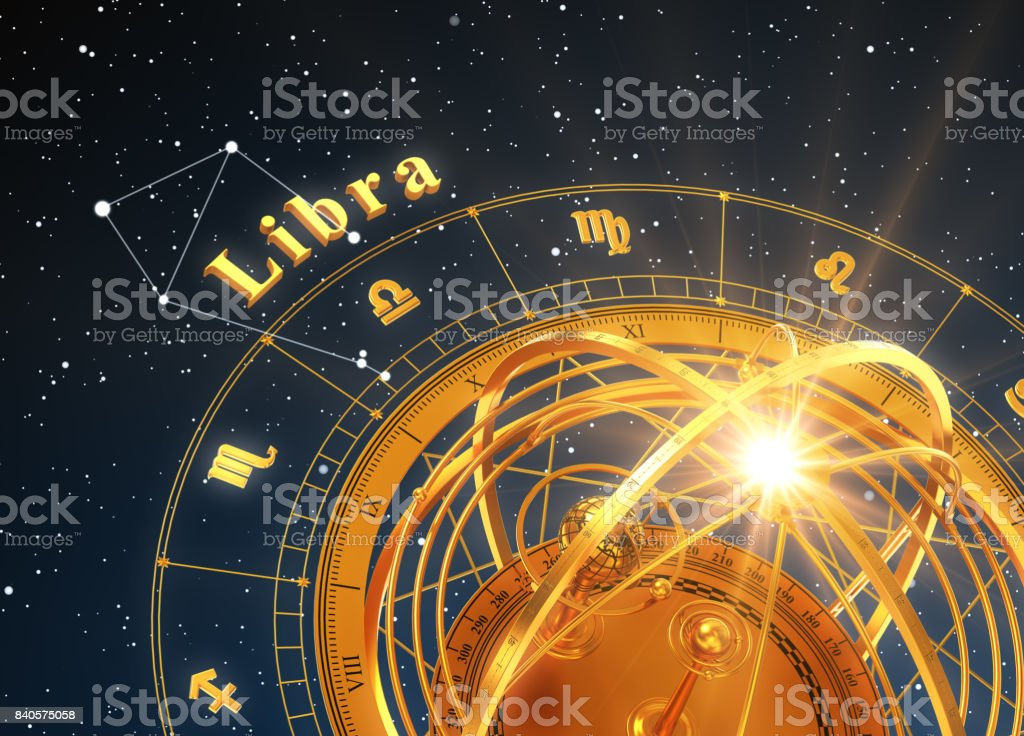 Zodiac Sign Libra And Armillary Sphere On Blue Background stock photo