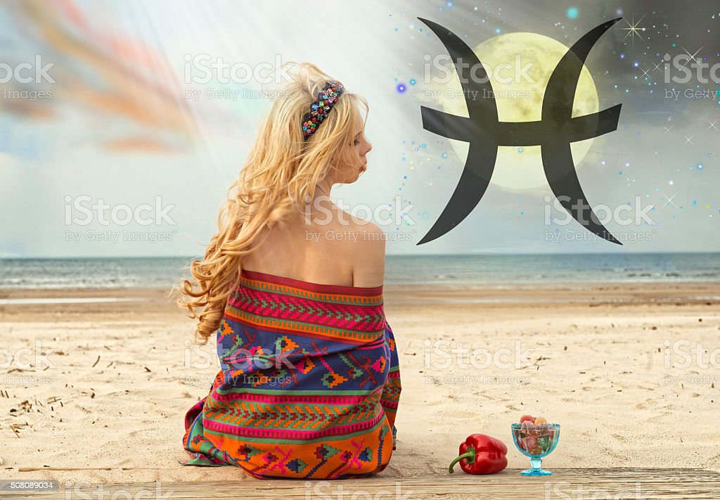 Zodiac sign of fish, the woman in an astrology stock photo