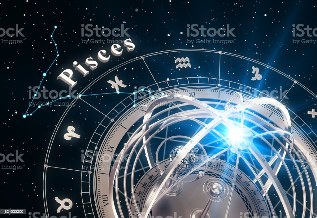 Zodiac Sign Pisces And Armillary Sphere On Black Background Stock Photo -  Download Image Now