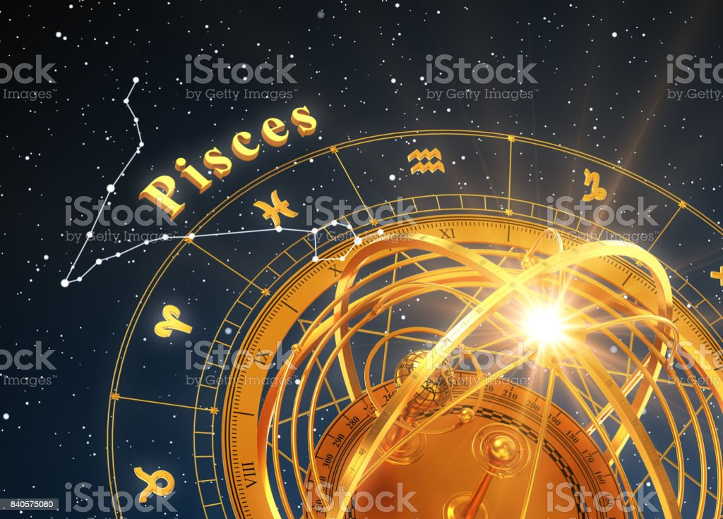 Zodiac Sign Pisces And Armillary Sphere On Blue Background stock photo