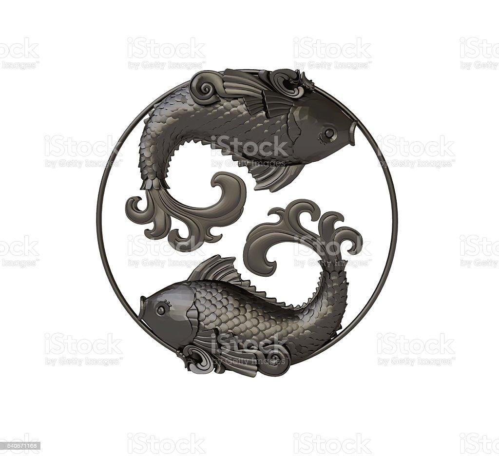 Zodiac Sign Pisces Pendant stock photo