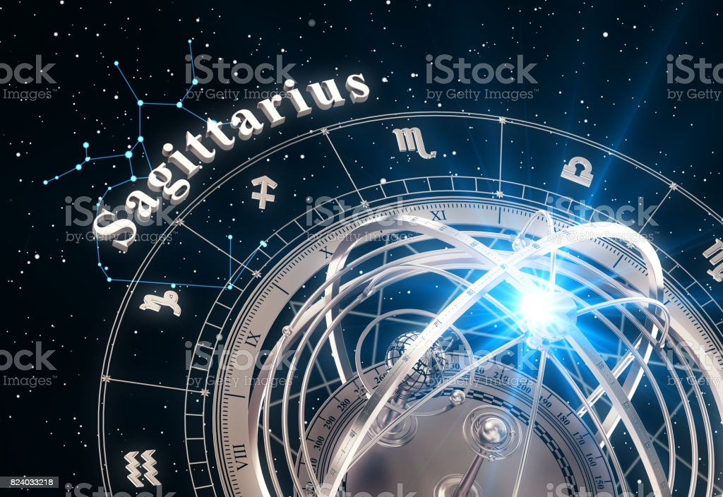 Zodiac Sign Sagittarius And Armillary Sphere On Black Background stock photo