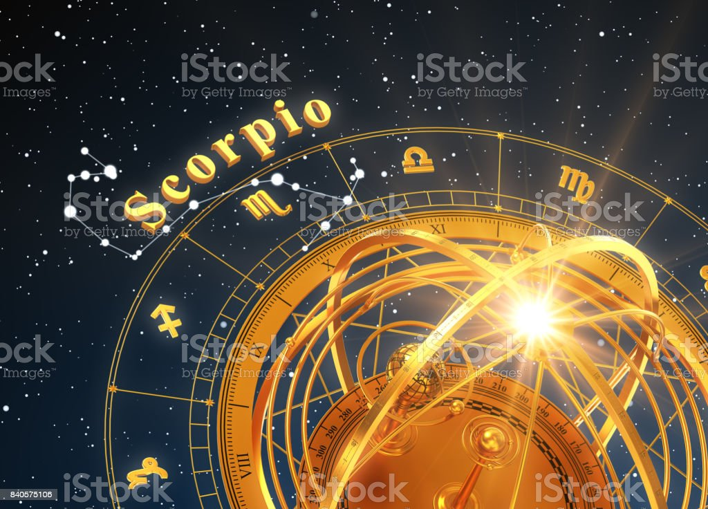 Zodiac Sign Scorpio And Armillary Sphere On Blue Background stock photo