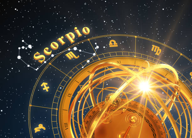 Zodiac Sign Scorpio And Armillary Sphere On Blue Background Zodiac Sign Scorpio And Armillary Sphere On Blue Background. 3D Illustration. scorpio stock pictures, royalty-free photos & images