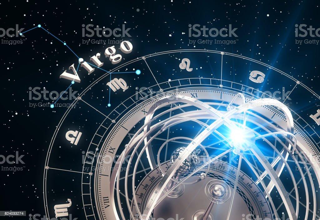 Zodiac Sign Virgo And Armillary Sphere On Black Background stock photo