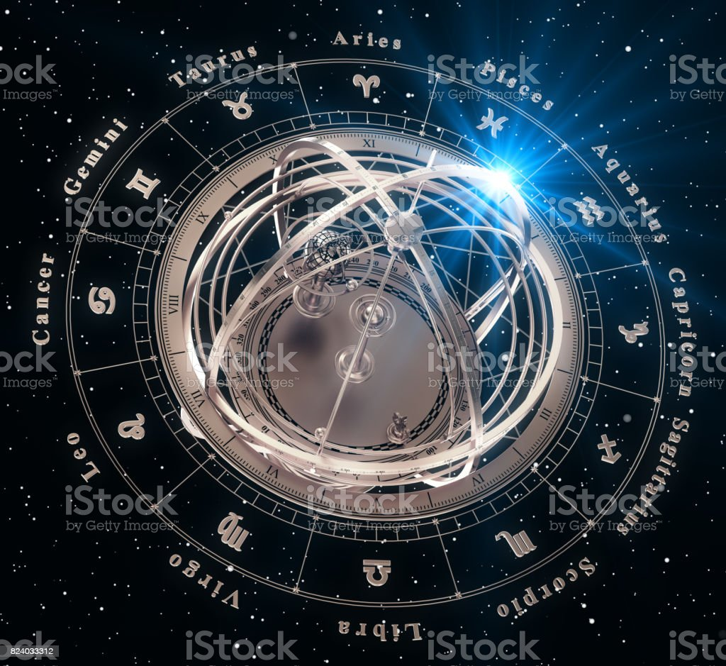 Zodiac Signs And Armillary Sphere On Black Background stock photo