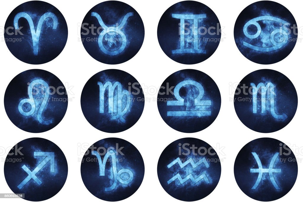 Zodiac signs buttons. Set of horoscope symbols, astrology icons collection. stock photo