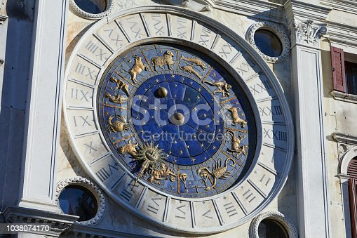 istock Zodiac signs clock, mystery in a sunny day in Italy 1038074170