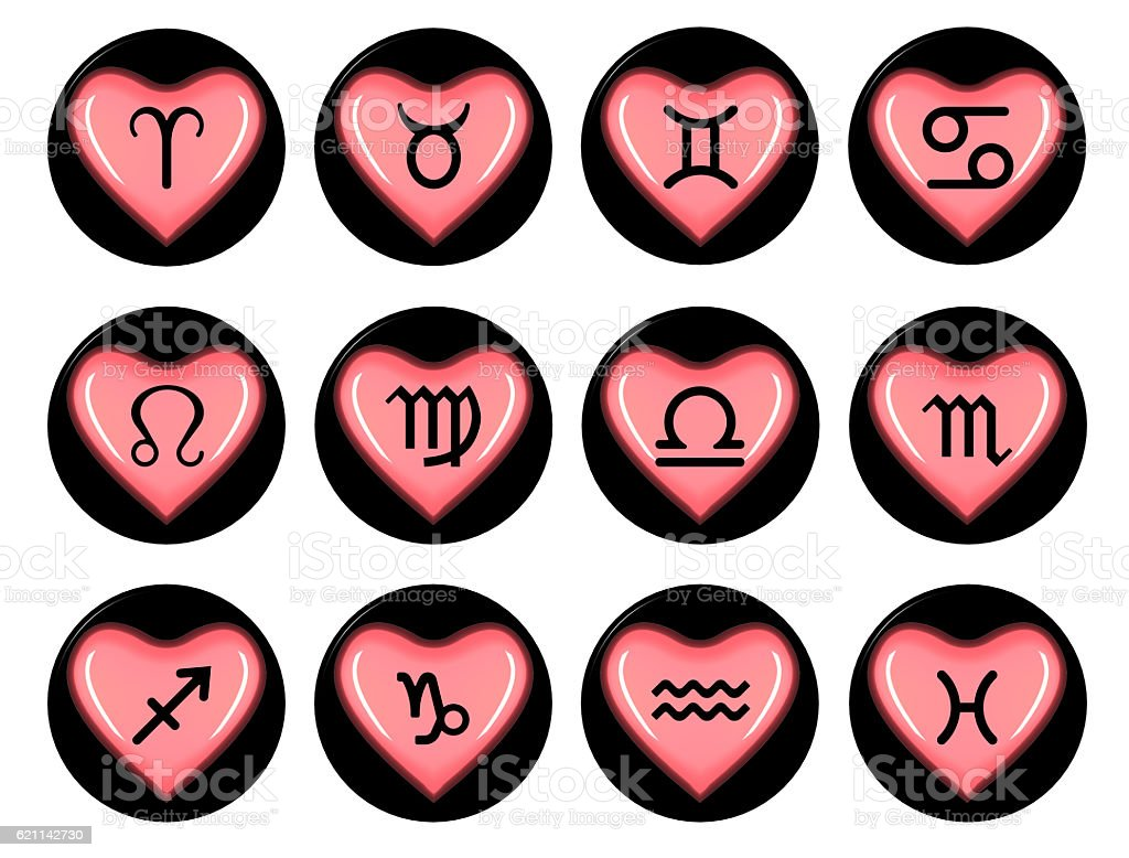 Zodiac signs heart stock photo
