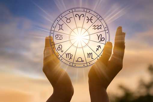 Zodiac signs inside of horoscope circle astrology and horoscopes concept