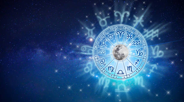 zodiac signs inside of horoscope circle. astrology in the sky with many stars and moons  astrology and horoscopes concept - astrologia imagens e fotografias de stock