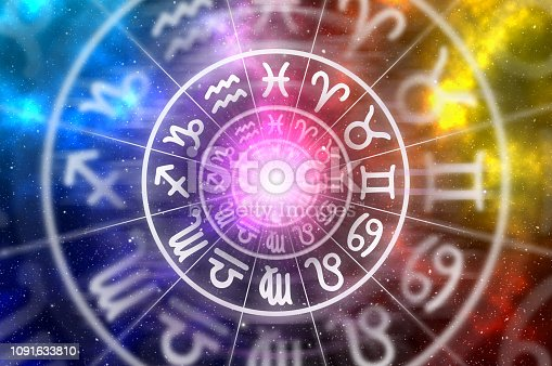 istock Zodiac signs inside of horoscope circle on universe background 1091633810