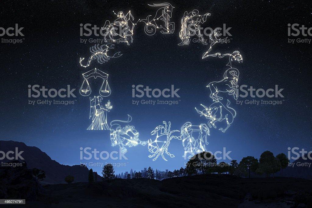 Знак зодиака's на небо фон с плавными переходами цвета стоковое фото