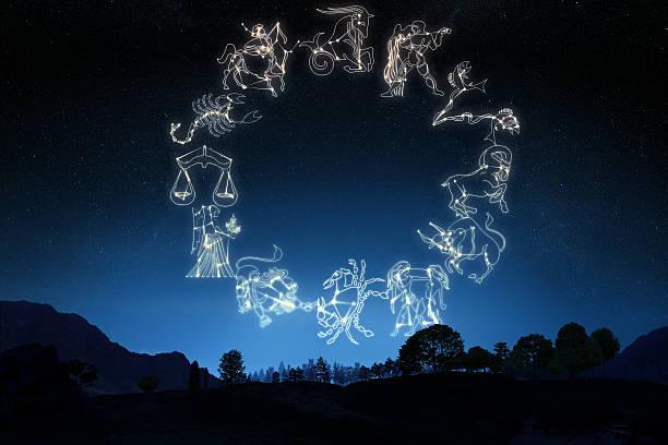 Sternzeichen's auf Himmel Hintergrund mit Farbverlauf – Foto