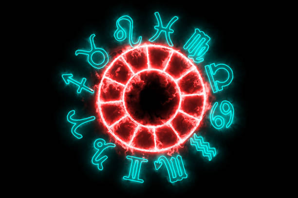 Zodiac twelve sign slow appear on black screen background stock photo