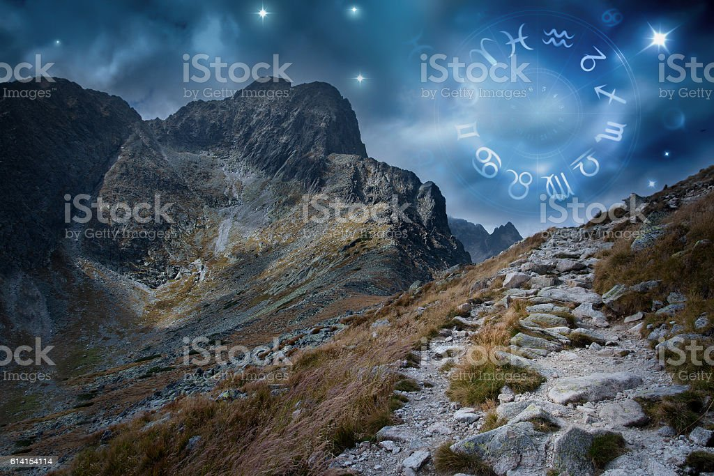 zodiac wheel on outdoor sky stock photo