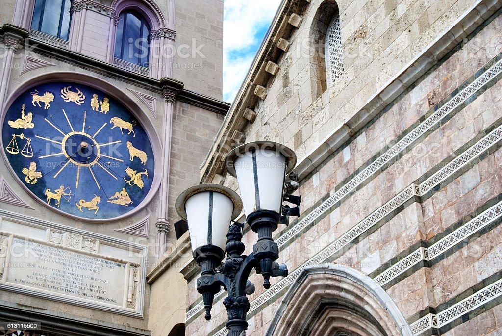 zodiacal clock on the facade of the Messina duomo stock photo