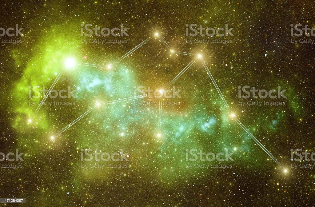 Zodiacal constellations. Aquarius stock photo
