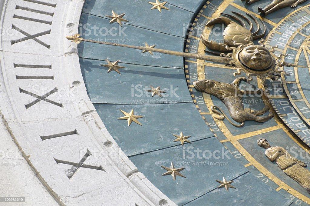 Zodiacal wall clock royalty-free stock photo