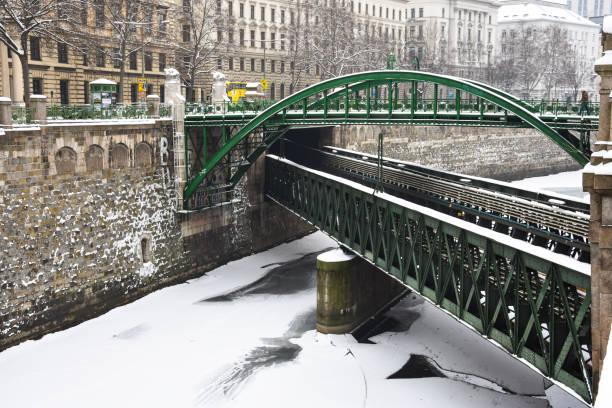 zollamtsbrucke und zollamtssteg (zollamt brücke). zugefrorenen fluss an einem verschneiten wintertag - eisenstadt austria stock-fotos und bilder