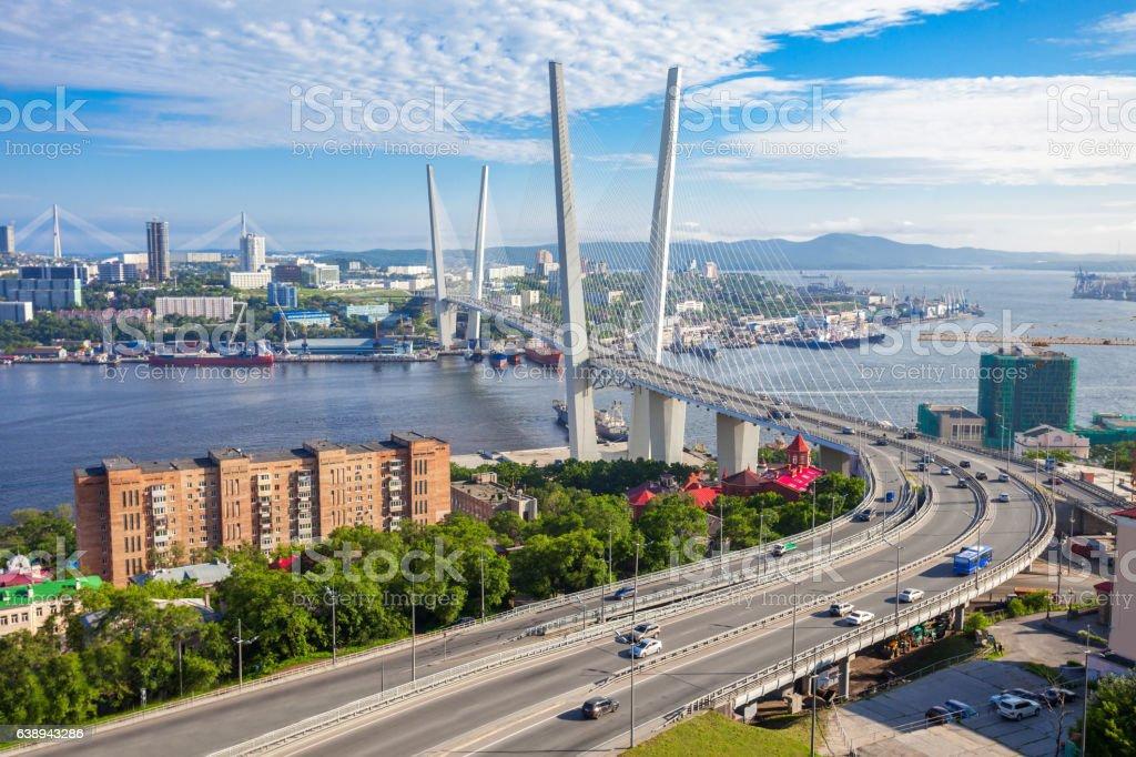 Zolotoy Golden Bridge, Vladivostok stock photo