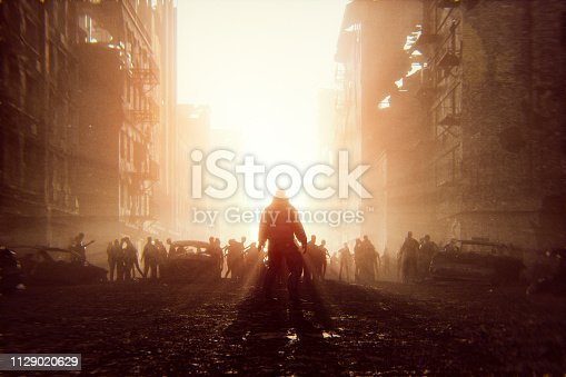Zombie apocalypse survivor against hordes of undead. This is entirely 3D generated image.