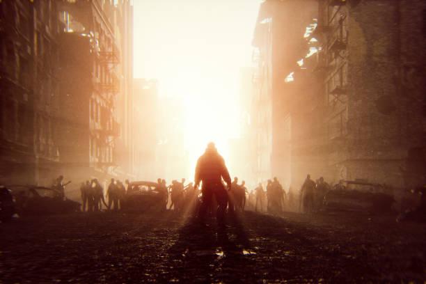 zombie apocalypse survivor against hordes of undead - zombie apocalypse stock photos and pictures
