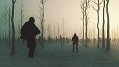 Zombie apocalypse survivors in the winter forest. This is entirely 3D generated image.