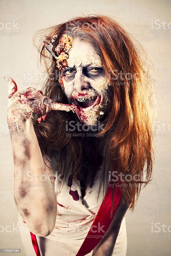 Zombie Beauty Queen - Call Me royalty-free stock photo