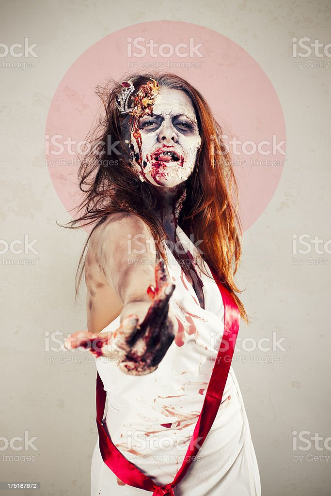 Zombie Beauty Queen Calling royalty-free stock photo