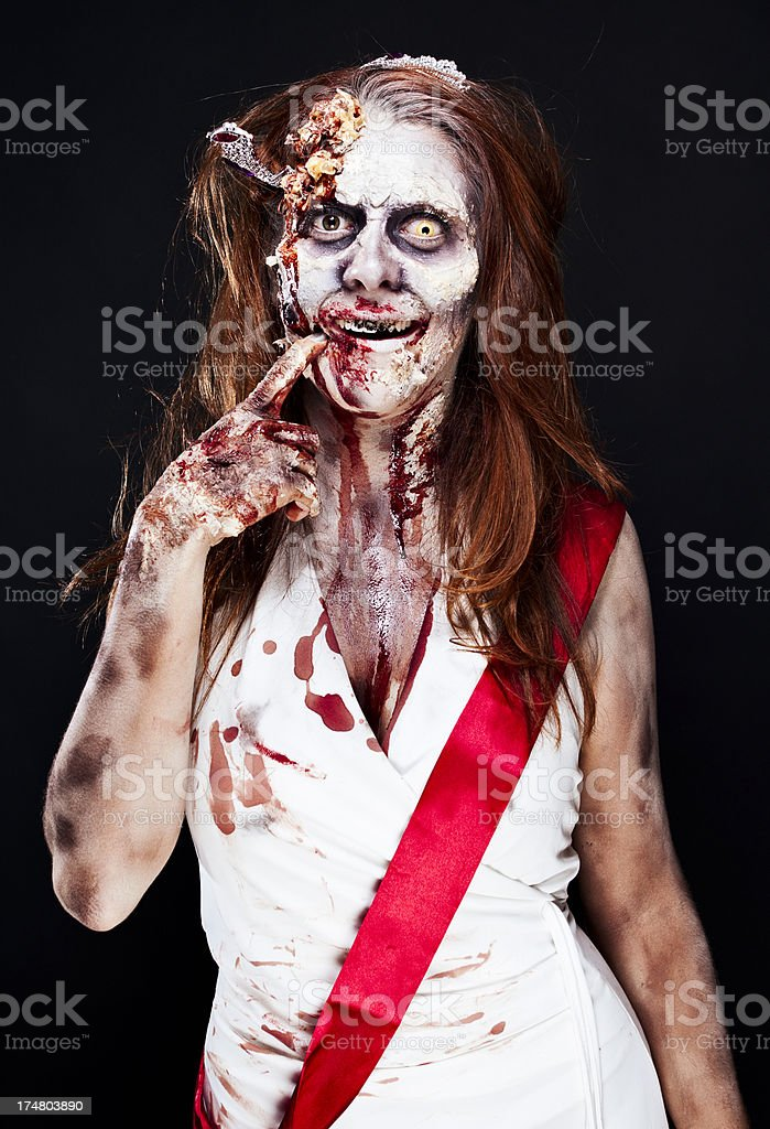 Zombie Beauty Queen Thinking stock photo