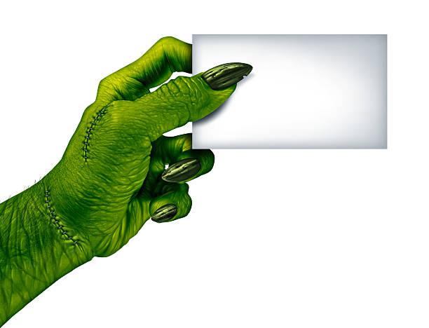 zombie tarjeta en blanco - monstruo fotografías e imágenes de stock