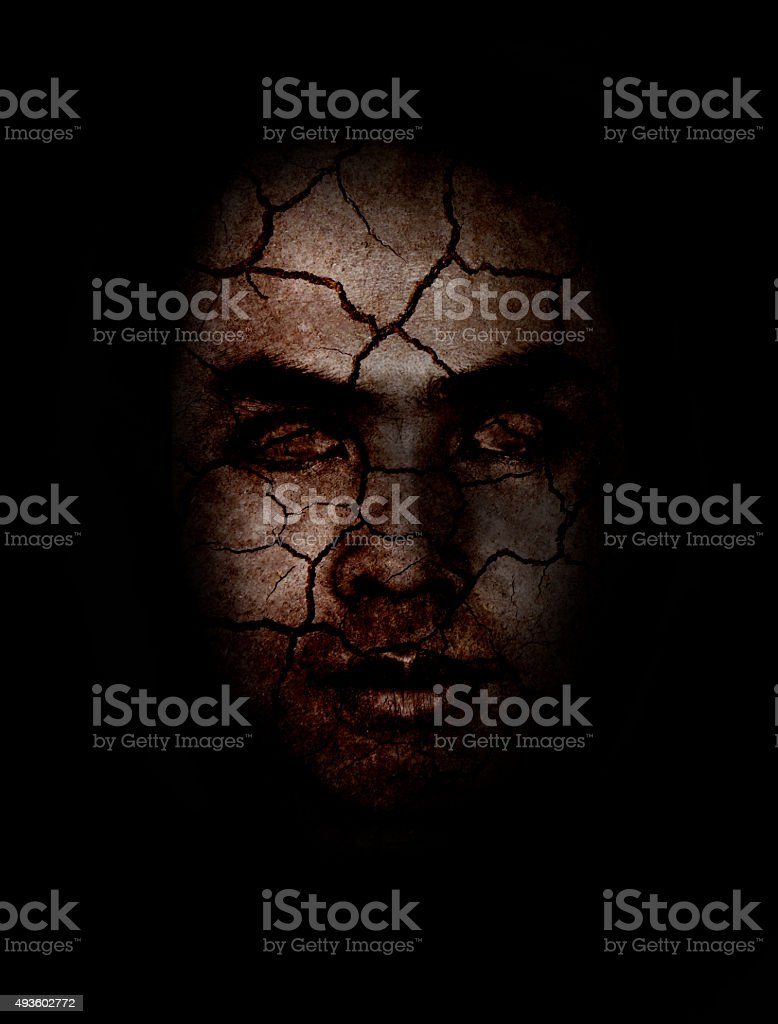 Zombie dark face with halloween stock photo