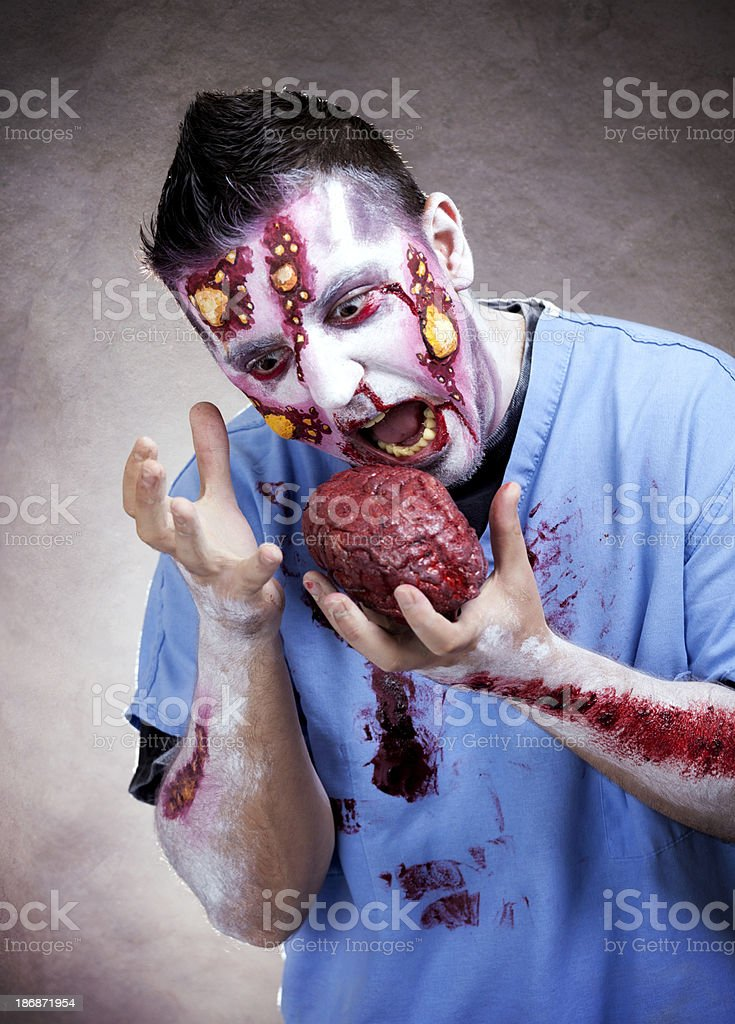 Zombie Eating Brains royalty-free stock photo