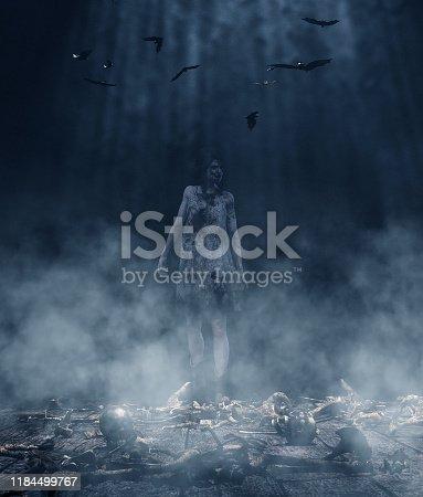 istock Zombie girl in the dark,3d illustration**3d figures 1184499767