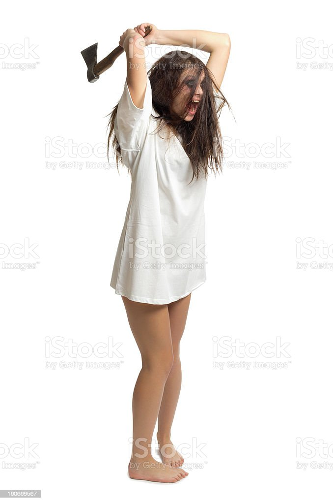 Zombie girl with axe royalty-free stock photo