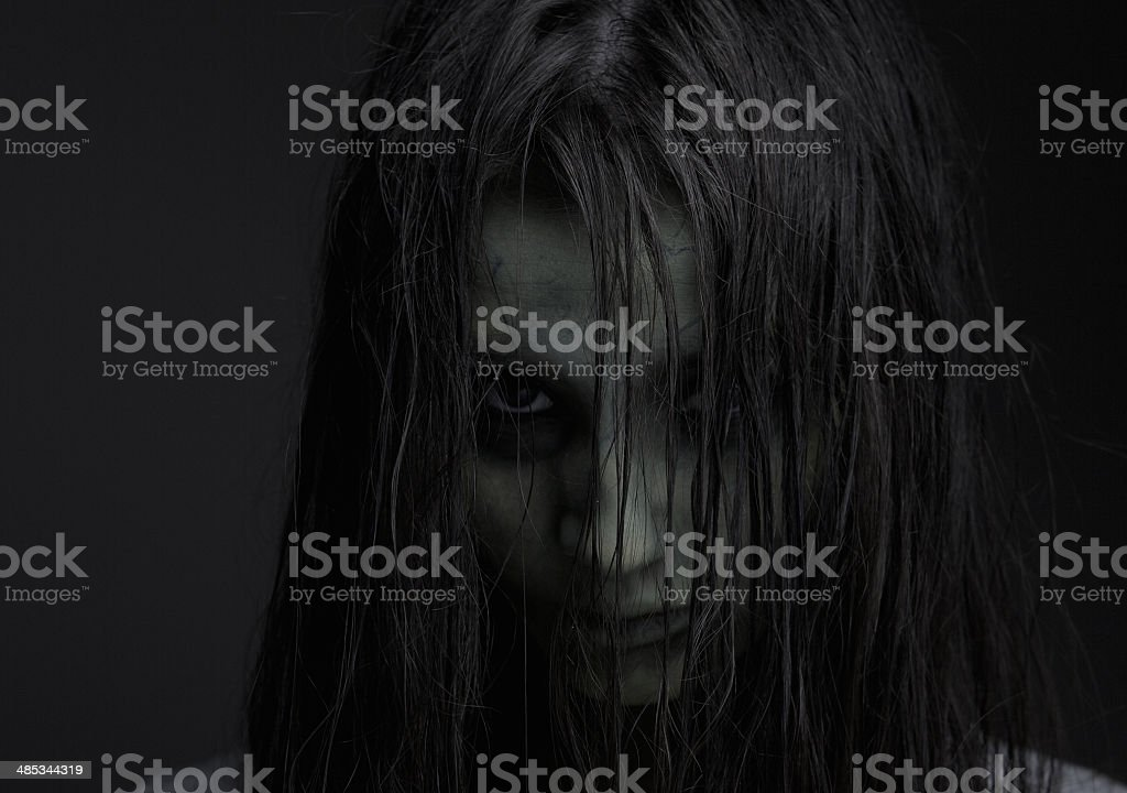 Zombie girl with horror expression stock photo