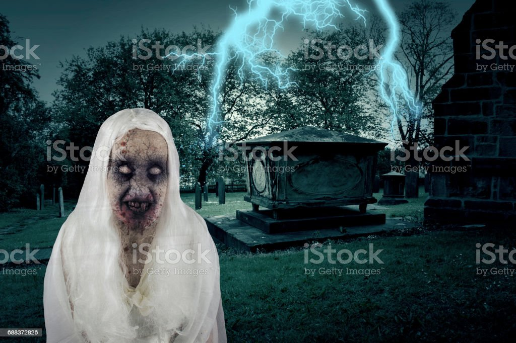 Zombie Graveyard Ghost With Lightening stock photo