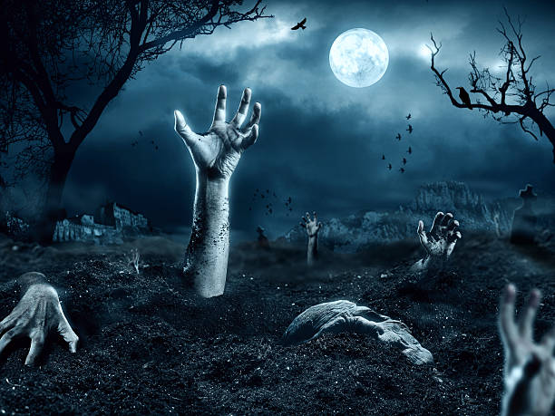 zombie hand coming out of his grave - zombie apocalypse stock photos and pictures