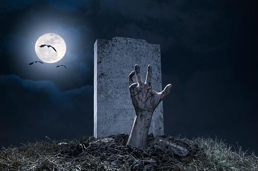 Zombie Hand Halloween Graveyard Night Monster Scary
