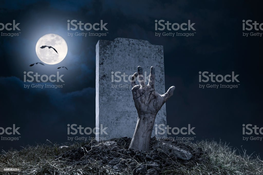 Zombie Hand Halloween Graveyard Night Monster Scary stock photo