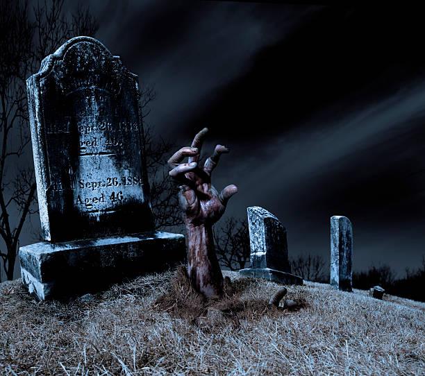 zombie-hand, aus dem grab - halloween grabsteine stock-fotos und bilder