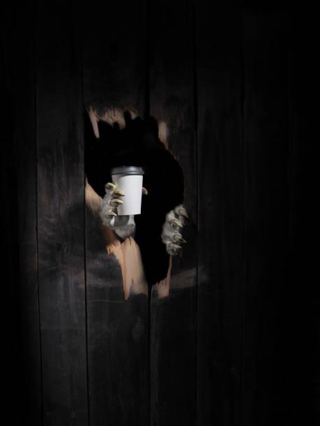 zombie hand genom hål knäckt i rustikt trä. halloween-tema - coffe with death bildbanksfoton och bilder